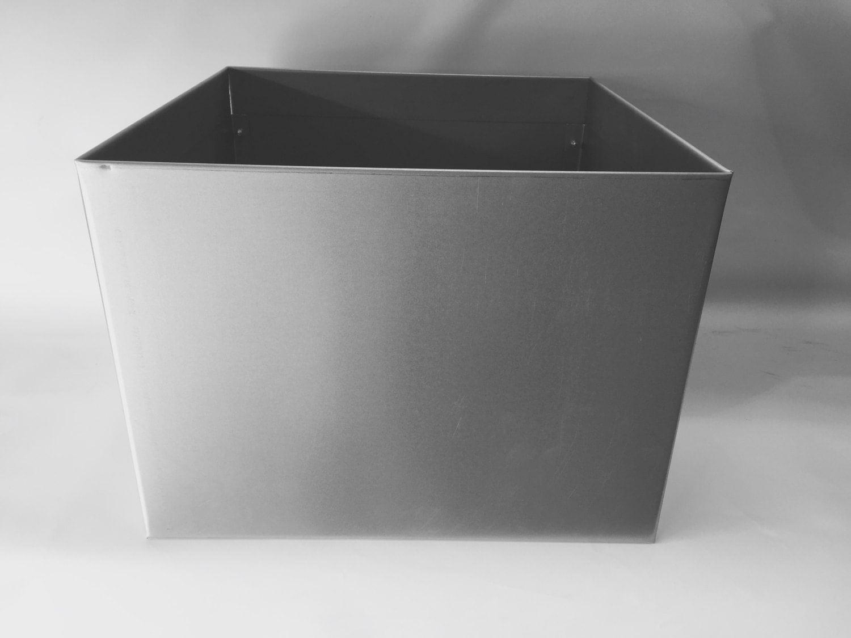 large cube handmade metal planter plain galvanised metal finish -