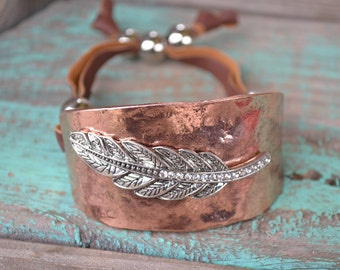 Feather and Rhinestone Metal Bracelet