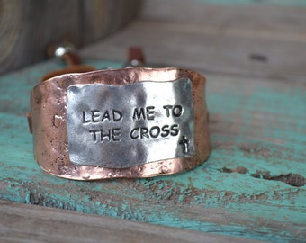 Lead Me To The Cross copper and silver bracelet