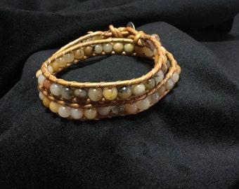 Chan luu style wrap bracelet, bohemian wrap jewelry, stone leather wrap bracelet, beadwork bracelet, boho jewelry
