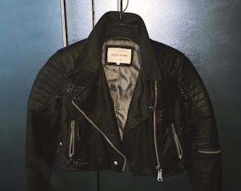Cropped Vintage Look Biker Jacket