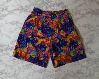 80s mini shorts | slouch rayon shorts