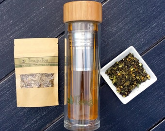 Tea Infuser Bottle BPA Free Glass Tumbler Thermos 15oz with Stainless Steel Filter and Bamboo Cap