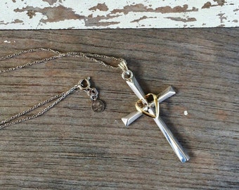 Vintage Sterling Silver and 10kt Gold Cross - Love Earth