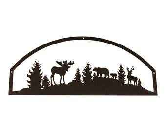 Wildlife Black Metal Sign, Moose Home Decor, Bear and Moose Decor, Black Metal Wall Art, Moose Home Decor, Bear Decor