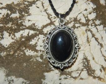 Necklace Onyx Medallion silver Baroque
