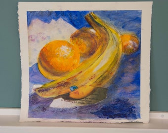 """Mixed Fruit - Original Mixed Media Collage using paper and acrylic paint.  12"""" x 13"""""""
