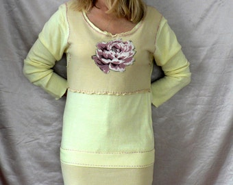 Recycling, dress-tunic with roses