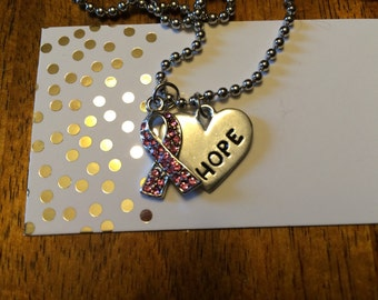 Breast cancer ribbon necklace