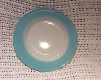 "Pyrex JAJ Weardale Duck Egg Blue 1960's with Gold Edges Tea Plate 6.5"" appx"