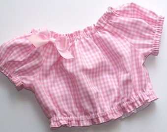 Gingham Check Peasant Top.  Pink, Blue, Red, Sweet Pea & More
