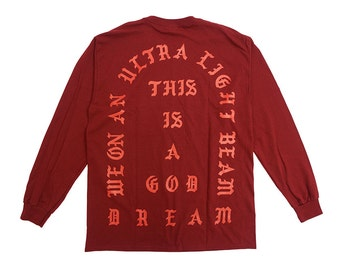 "I Feel Like Pablo ""Ultra Light Beam"" Long Sleeve Shirt Red Maroon 