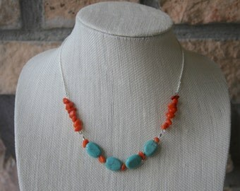Teal and Orange Stone Necklace