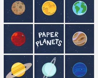 Paper Planets: Solar System Cut Paper Illustrations