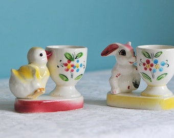 Vintage Bunny and Chick Childs Ceramic Eggcups / Animal Eggcups / Shafford Ware Eggcups / Easter Colours Eggcups