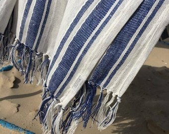 Linen Beach Towel With Fringes