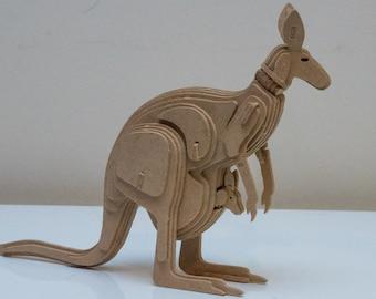 Kangaroo with Joey Australian Animal Series 3D Wooden Toy Puzzle