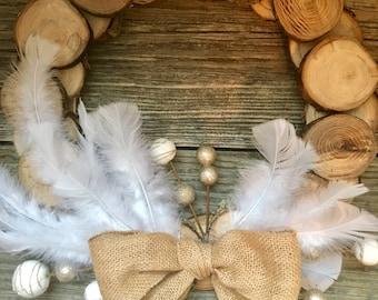 "Winter Hand Cut Wood Slice Wreath. 15""  Farmhouse Style"