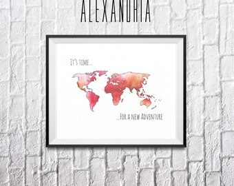 Orange adventure quote world map digital print, digital download, home decor, wall art, inspirational quote
