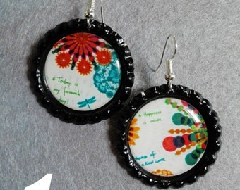 Handmade earrings caps floral design