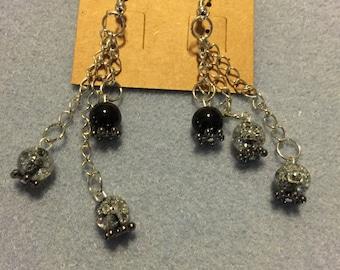 Black and gray glass dangle earrings