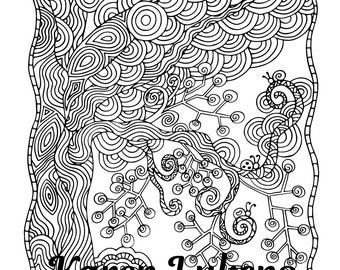 Circle Tree, 1 Adult Coloring Book Page, Printable Instant Download, Karen Lukens