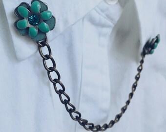 Blue Daisy Collar Pin
