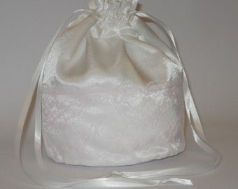 White Satin & Pink Lace Dolly Evening Handbag Or Purse For Wedding Or Bridesmaid