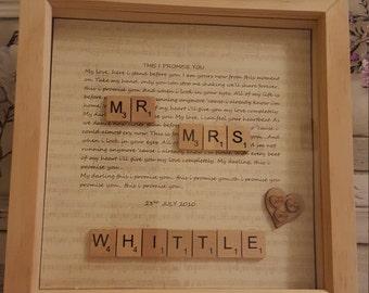 Wedding lyrics framed gift