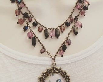 Vintage style bird necklace cabochon disney