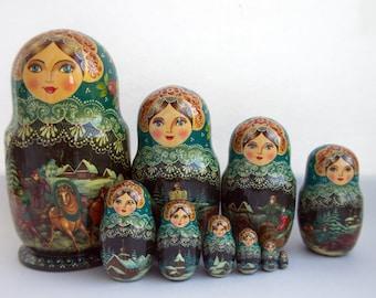 "Russian Traditional Nesting babushka Matryoshka Doll (Russian ""Russkaya Troyka""), 10 pcs, 10''. Hand Painted doll #131 Free shipping"