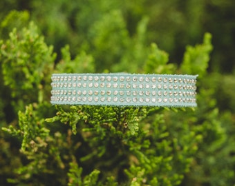 The Chico Mint Suede Leather Bracelet with Clear Swarovski Crystals