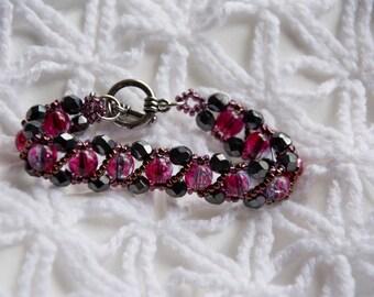 Broken glass bead bracelet