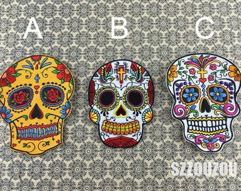 Skull Embroidery Patches Embroidery Floral Appliques Skull with Iron on Backing