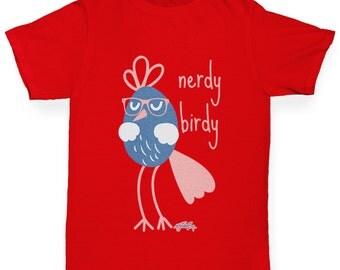 Girl's Funny Nerdy Birdy T-Shirt
