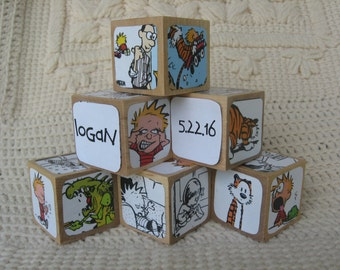 Personalized Calvin and Hobbes Blocks With Your Child's Name