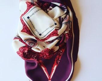 Pure silk scarf vintage signed Mercedes Benz