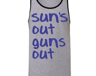 Sun's Out Guns Out Men's Tank Top Shirts Gift For Men Funny Tshirt Gym Summer Tees