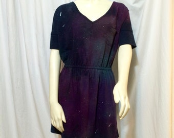 Women's Galaxy Tee Shirt Dress, Medium, Cuffed Sleeves