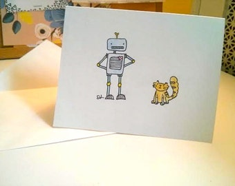 Robot and Cat Friendship Card