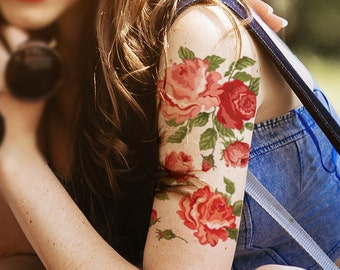 Supperb® Temporary Tattoos - Rose Blooming Arm Tattoo
