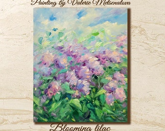 Blooming lilac, Bright painting,Pa lette knife, Flowers, Fine art, Bright art, Wall art decor, Home decor, Canvas Oil, Best gift, Super