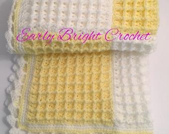 Crochet handmade 'Luna' Lemon and White Baby Blanket