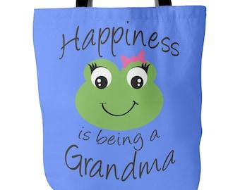 Grandma Tote Bag - Happiness is being a Grandma - Perfect Gift for Grandma - Grandma Book Bag