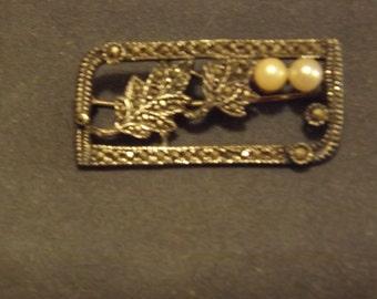 Vintage Marcasite Brooch / Pin 92.5