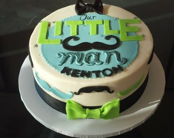 Little Man Cake Topper with Mustaches