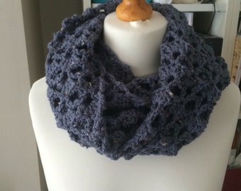 Blue, pretty, lacey, handmade, one of a kind, ooak, unique, ladies, infinity scarf, winter, gift