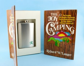 BOOK SAFE ~Flask Optional. Joy of Camping hollow book. Free personalized Monogram initial.