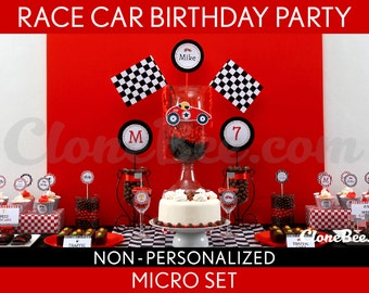 Race Car Birthday Party Package Collection Set Micro NonPersonalized Printable // Vintage Race Car - B1Nz1