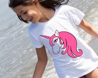 Unicorn T-Shirt, Age 3-4, Girls, 3/4, Toddler, Pink, Unicorn, Horse, Girls unicorn tshirt, Girls unicorn top, Kids unicorn tshirt, baby